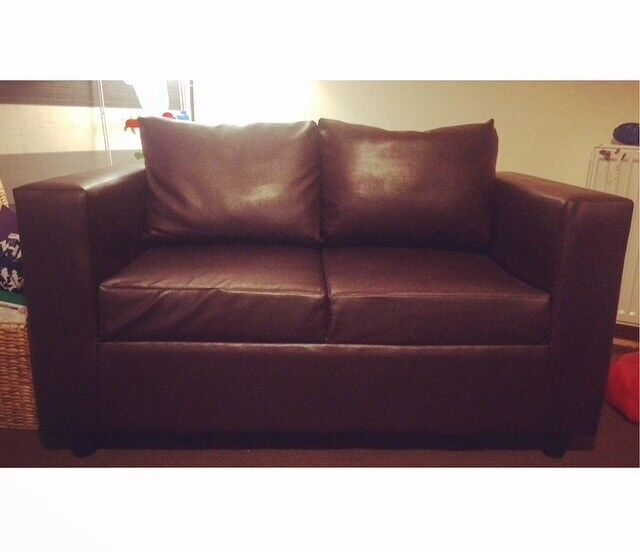 ✨ Brown Leather Couch (two and three seater)