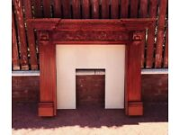 Ornate Wooden Fire Surround with Marble Backplate