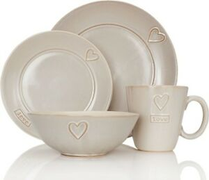NEXT 12 Piece Love Dinner Set Cream VALENTINE Dinnerware  Plates Side Bowls NEW