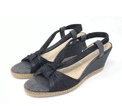 Donald J Pliner Stretch Fit Black Strappy Rubber Wedge Sandals NWOB 7.5M