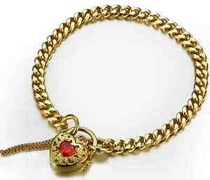 9ct/ 18ct Gold Plated Euro Filigree Heart Vintage Safety Clasp Solid Bracelet