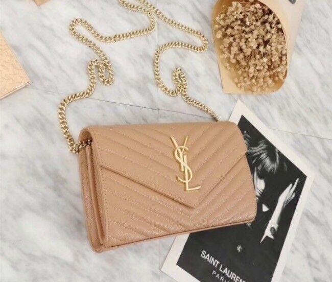 84e0be85a71d YSL Envelope Clutch Bag - Nude