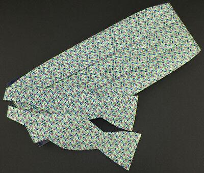 VINEYARD VINES Green Pink Navy White SAILBOATS Cummerbund Bow Tie Set NWT