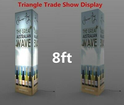 8ft Led Lite Trade Show Fabric Display Banner Stands Triangle Shape Graphic