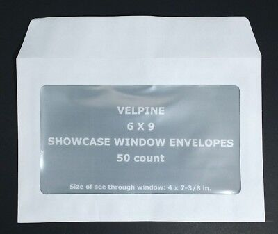 Window Envelopes 50 Full Face 6 X 9 White Velpine Paper 50 Per Pkg Direct Mail