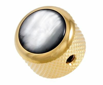 Q-Parts Black and Gold Pearl Acrylic Dome Knob for Electric Guitar and Bass