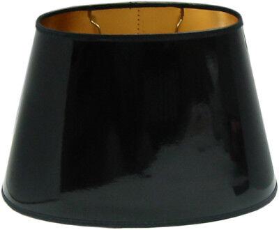 Tisch-Lampenschirm *oval* schwarz Lack D=30cm, innen gold , E27 unten