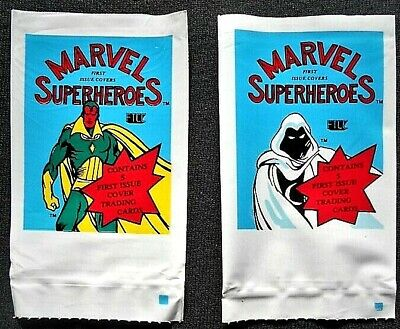 TWO 1984 FTCC MARVEL SUPERHEROES FIRST ISSUE CVRS WRAPPERS<>VISION & MOON KNIGHT