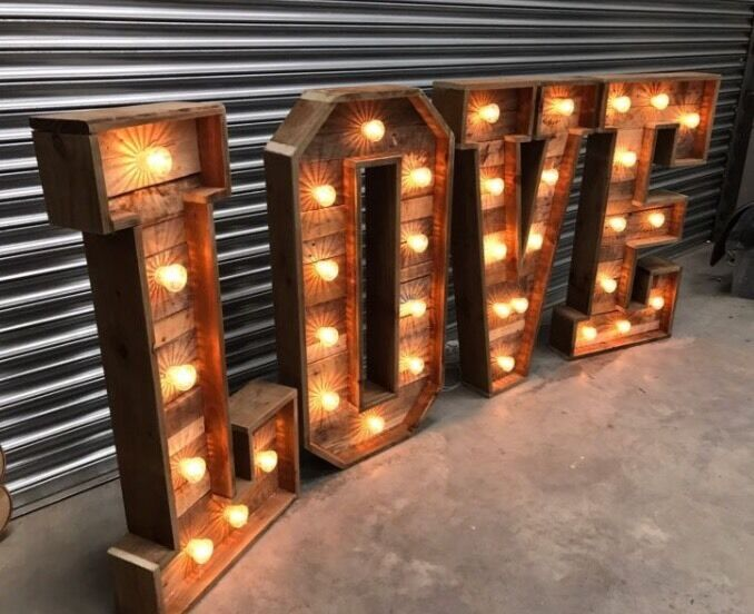 4 ft reclaimed wood love letters sweet carts