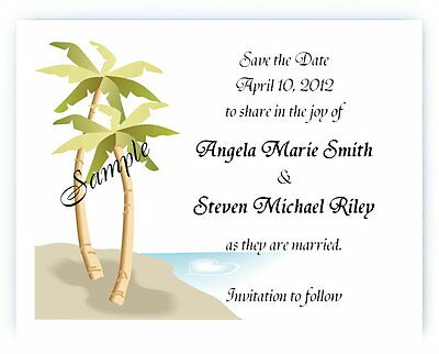 100 Personalized Custom Palm Tree Beach Bridal Wedding Save The Date Cards