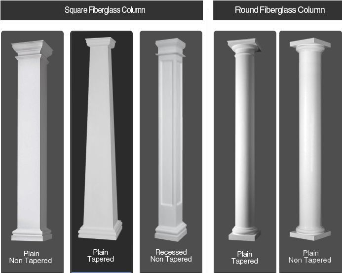 Fiberglass tapered and non tapered columns sale other for Fiberglass columns for sale