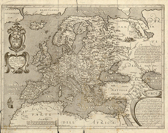 Map of Europe c1600s 30x24