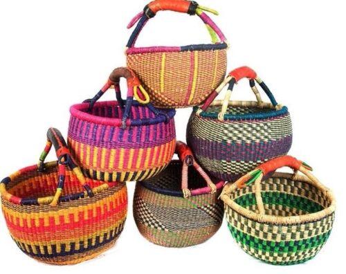 "SMALL African Basket   Bolga Ghana  Storage  Market Basket  9""-11"