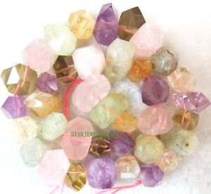 13x(18-20)mm Nugget multicolor quartz freedom Faceted Beads 16