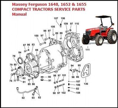 Massey Ferguson Mf 1648 1652 1655 Compact Tractors Service Parts Manual