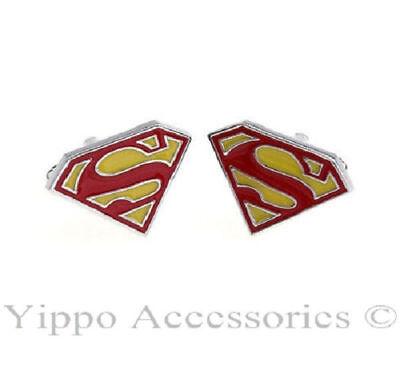 Superman Red/Yellow Logo Stainless Steel Dress Shirt 1 Pair Cufflinks USA Seller