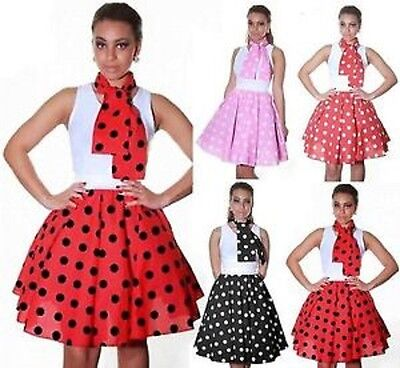 50's Style Ladies Women Polka Dot RockNRoll Poodle Skirt&Scarf Set](Polka Dot Poodle Skirt)
