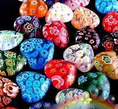 8mm Millefiori Glass - Wholesale Lots 100pcs Shining Heart Millefiori Glass Craft Beads 8mm Multi-Color