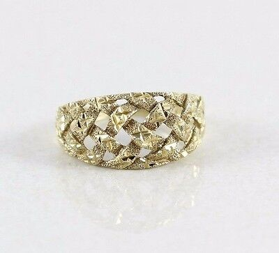 10k Yellow Gold Ring Etched Basket Weave Ring Dome Ring Size 7 10k Gold Weave Ring