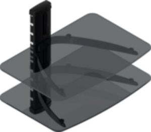 DOUBLE SHELF TINTED GLASS WALL MOUNT COMPONENT STAND