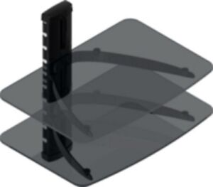 TWO SHELF SMOKED GLASS WALL MOUNT COMPONENT STAND