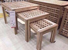Nest of 3 Ikea Skoghall tables, BNIB