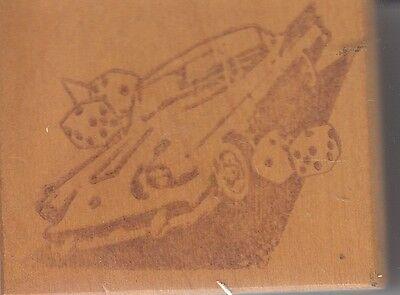 "studebaker unbrandedWood Mounted Rubber Stamp 2 1/2 x 2""  Free Shipping"