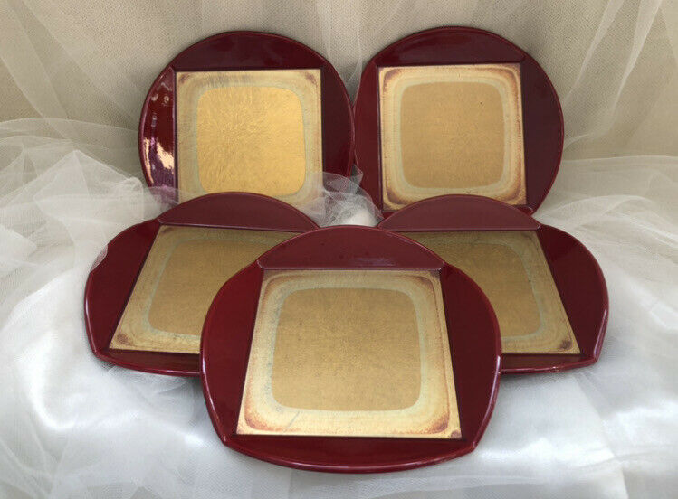 Vtg JAPANESE RED Gold Lacquer Small Dishes Set 5