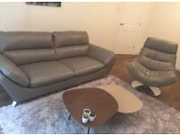 Furniture Village leather sofa and chair