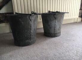 Vintage galvanised buckets