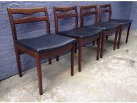 4 vintage 1960s solid aformosia dining chairs Danish mid century retro