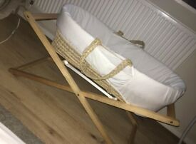 Mama's and Papa's Moses basket, stand, mattress & covers