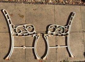 White cast iron garden bench/ seat ends (child's)