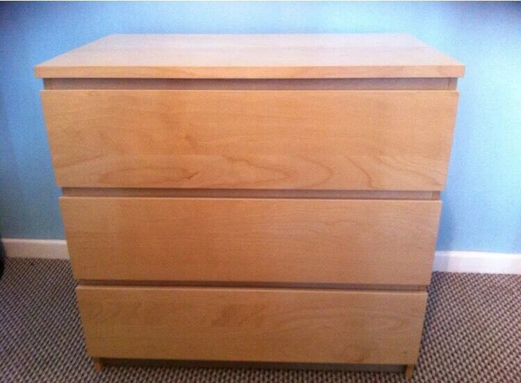 ikea malm beech 3 drawer chest of drawers in burry port. Black Bedroom Furniture Sets. Home Design Ideas