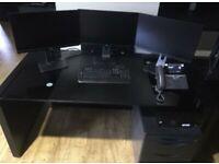 2x Black Glass Desk