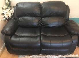 Two seater and three seater recliner black sofa
