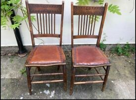 A Pair of Antique American Leather Seat Chairs
