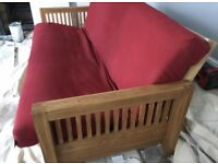 Lovely Futon Company 3 seater Solid Oak sofa bed with under drawer!