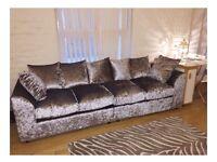 Crushed velvet 4 seater sofa