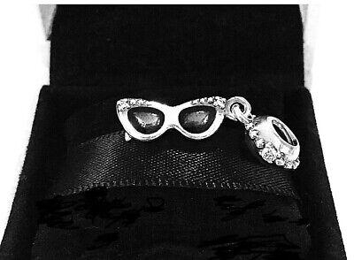 Authentic PANDORA SUNGLASSES DANGLE CHARM W/ Pandora TAG & HINGED BOX # (Charm & Charm Sunglasses)