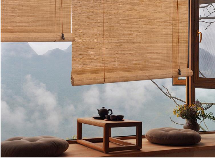 Bamboo Roll Up Blind Sun Shade, Filtering Roller