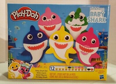 Play-Doh Pinkfong Baby Shark Set 12 Pieces Canisters Hasbro New Sealed NIB