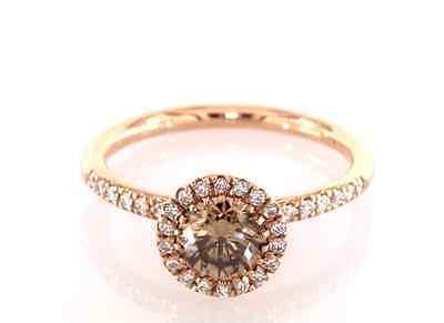 0.78 CT DIAMOND ENGAGEMENT RING LIGHT BROWN GIA CERT 18K PINK GOLD 2.7g TAXFREE
