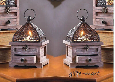 6 rustic brown wood metal cage Moroccan Candle holder Lantern wedding decoration