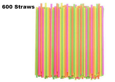 600 ct Drinking STRAWS Bendable Flexible Plastic Bendy Straw Neon Color BPA FREE - Plastic Straws