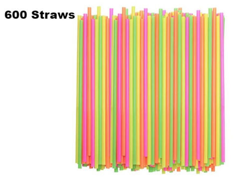600 ct Drinking STRAWS Bendable Flexible Plastic Bendy Straw Neon Color BPA FREE