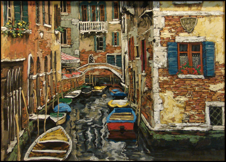 "Viktor Shvaiko""boats On Venice"" Venice On Canvas Unframed H.signed Make An Offer"