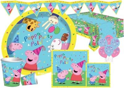 Peppa Pig Complete Party Kits Plates Cups Banner Napkins Tablecovers - Pig Party Plates