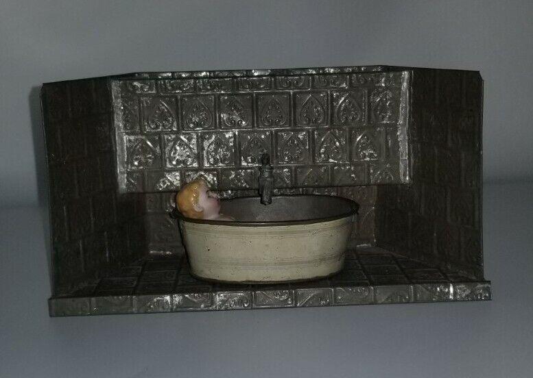 Antique Nuremberg Miniature Tin Working Bathroom with Doll