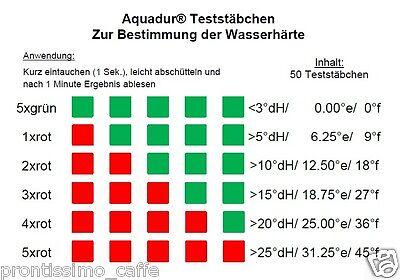 50 x Aquadur Teststäbchen Kalk Wasserhärte Teststreifen zur Messung